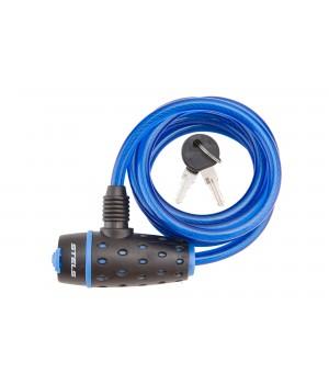 Трос-замок 87318, 8х1800мм, с ключом со стальным тросом, чёрно-синий
