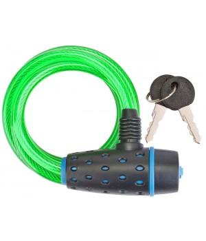 Трос-замок 87318, 8х1800 мм, с ключом со стальным тросом, чёрно-зелёный