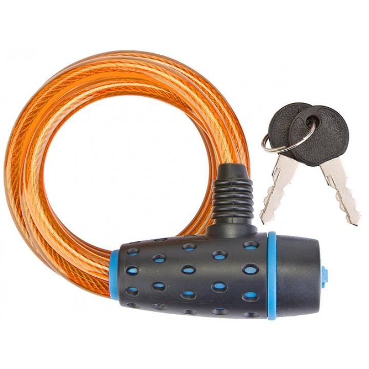 Трос-замок 87318, 8х1800мм, с ключом со стальным тросом, чёрно-оранжевый