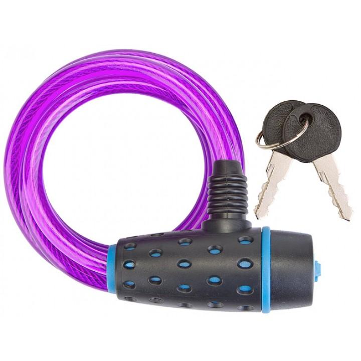 Трос-замок 87318, 8х1800 мм, с ключом со стальным тросом, чёрно-пурпурный