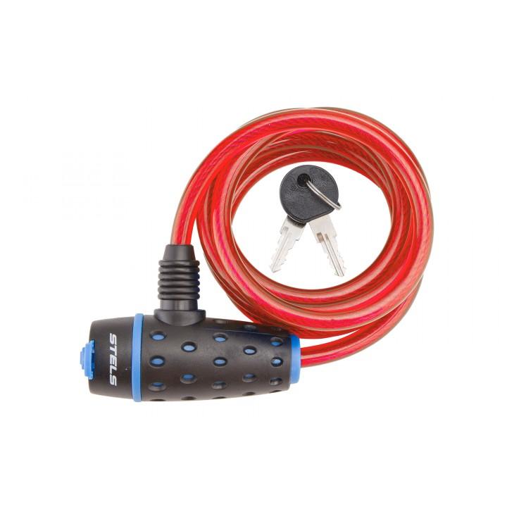 Трос-замок 87318, 8х1800мм, с ключом со стальным тросом, чёрно-красный