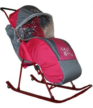 Санки-коляска Снежинка с колесиками и накидкой от дождя и снега