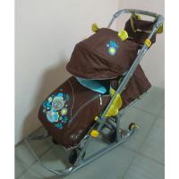 Санки-коляска Ника-Детям 7 со спинкой на три положения и ручкой вперед-назад