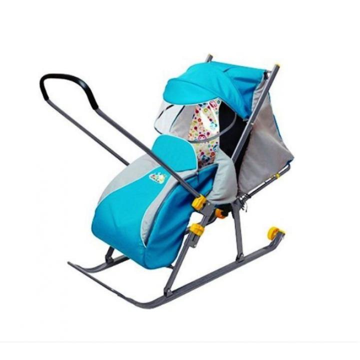 Санки-коляска Ника-Детям 4 со спинкой на три положения и ручкой вперед-назад