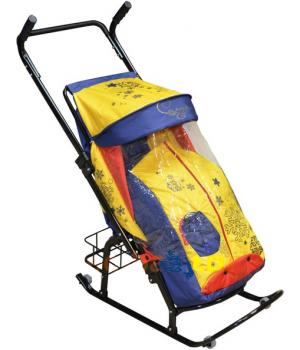 Санки-коляска Герда 42 P2 с корзиной и перекидной ручкой