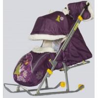 Санки-коляска Ника-Детям 6 со спинкой на три положения и ручкой вперед-назад