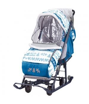 Санки-коляска Наши Детки со спинкой на три положения и ручкой вперед-назад