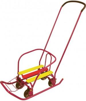 Санки с большими выдвижными колесами Ветерок 7 универсал В7У ножное переключение