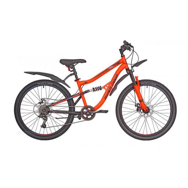 Велосипед подростковый Rush Hour FS -475 MD зеленый / оранжевый  2021г. колесо 24, c дисковыми тормозами