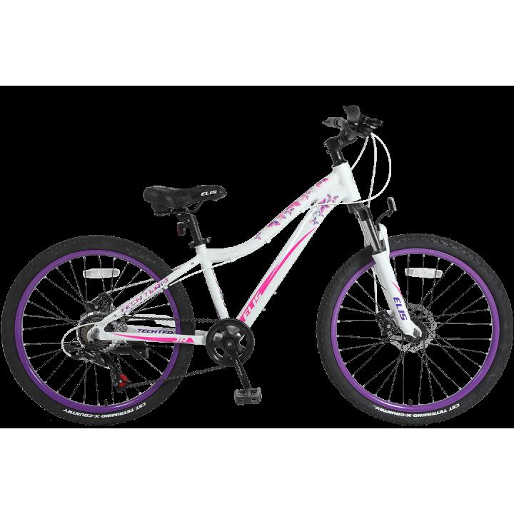 Велосипед подростковый Tech Team Elis 24 белый/ розовый 2021г. колесо 24, c дисковыми тормозами