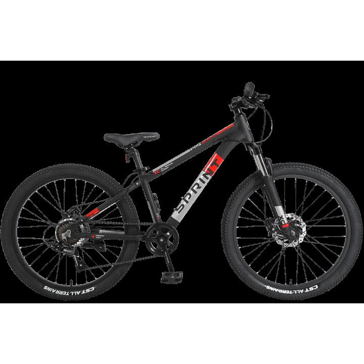 Велосипед подростковый Tech Team SPRINT 24 черный 2021г. колесо 24, c дисковыми тормозами