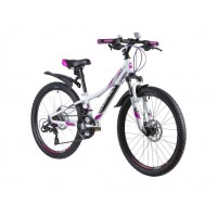 """Велосипед подростковый NOVATRACK 24"""" KATRINA 24 розовый металлик 2021г. колесо 24, c дисковыми тормозами"""