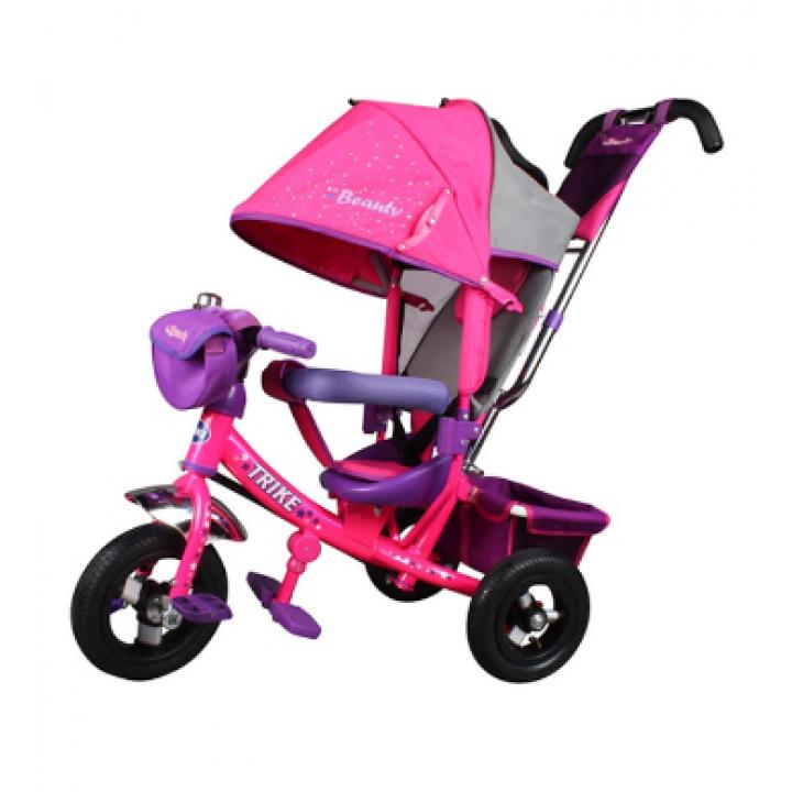 Велосипед детский 3х колесный с ручкой Trike TB7D c накачивающимися колесами