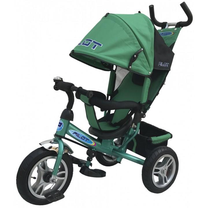 Велосипед детский 3х колесный с ручкой PILOT PTA3G с большими накачивающимися колесами