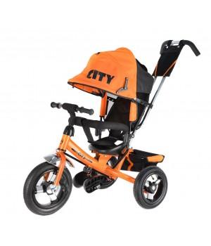 Велосипед детский 3х колесный с ручкой City JD7BR / JD7BO / JD7BB / JD7BT c накачивающимися колесами